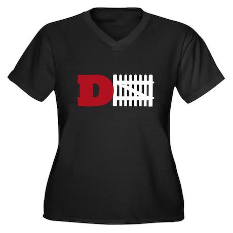 Defense! (white fence) Women's Plus Size V-Neck Da