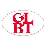 GLBT Red Pop Oval Sticker (10 pk)