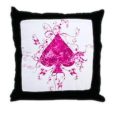 pink spade on white Throw Pillow