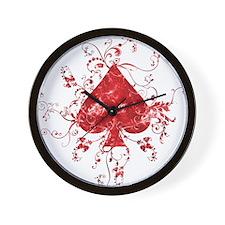 Red Spade Wall Clock