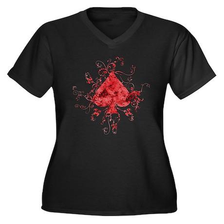 Red Spade Women's Plus Size V-Neck Dark T-Shirt