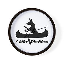 donkey river on white Wall Clock