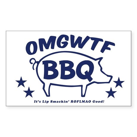OMGWTFBBQ Rectangle Sticker