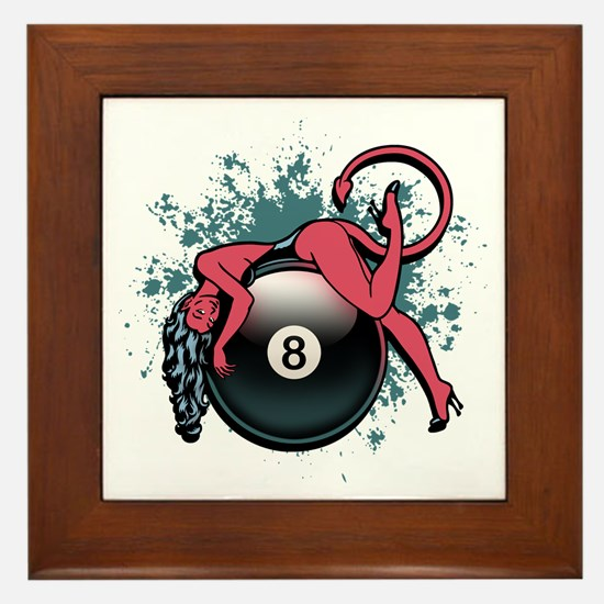 8-Ball Devil Girl Framed Tile