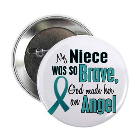 """Angel 1 TEAL (Niece) 2.25"""" Button (10 pack)"""