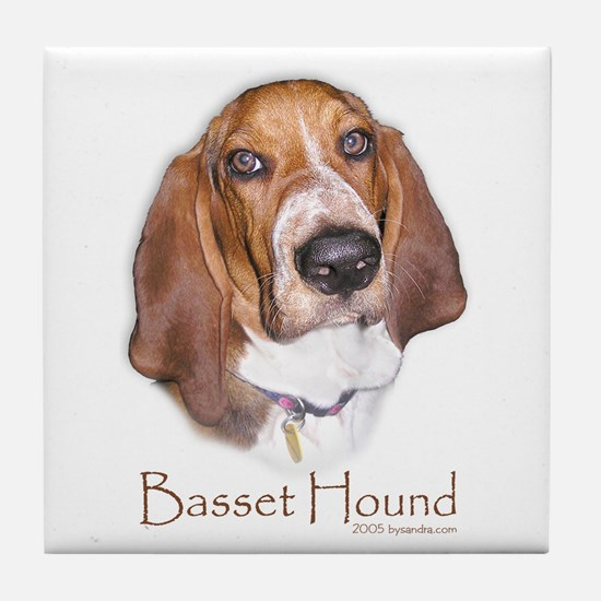 Basset Hound Design Tile Coaster