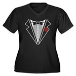 Tuxedo Women's Plus Size V-Neck Dark T-Shirt