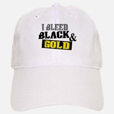 Bleed Black and Gold Baseball Baseball Cap