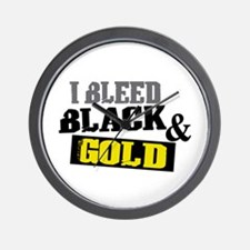 Bleed Black and Gold Wall Clock