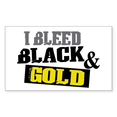 Bleed Black and Gold Rectangle Sticker