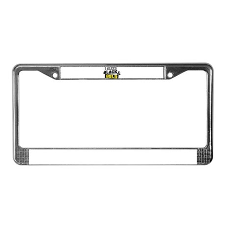 Bleed Black and Gold License Plate Frame