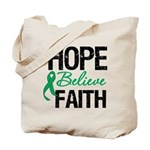 HopeBelieveFaith LiverCancer Tote Bag