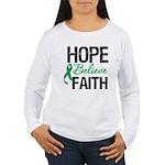 HopeBelieveFaith LiverCancer Women's Long Sleeve T