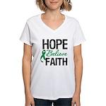 HopeBelieveFaith LiverCancer Women's V-Neck T-Shir