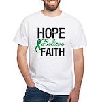 HopeBelieveFaith LiverCancer White T-Shirt