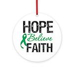 HopeBelieveFaith LiverCancer Ornament (Round)