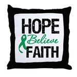 HopeBelieveFaith LiverCancer Throw Pillow