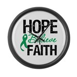 HopeBelieveFaith LiverCancer Large Wall Clock