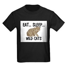 Eat ... Sleep ... WILD CATS Kids Dark T-Shirt