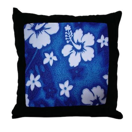 Tropical DRK blue Throw Pillow