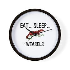 Eat ... Sleep ... WEASELS Wall Clock