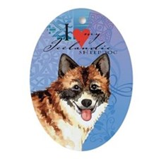 Icelandic Sheepdog Oval Ornament