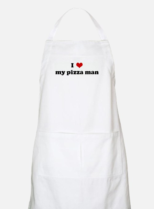 I Love my pizza man BBQ Apron