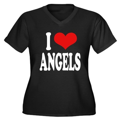 I Love Angels Women's Plus Size V-Neck Dark T-Shir