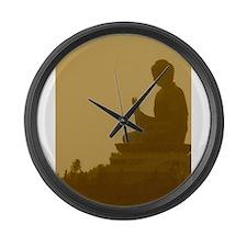 brown buddha Large Wall Clock