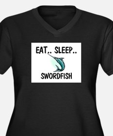 Eat ... Sleep ... SWORDFISH Women's Plus Size V-Ne
