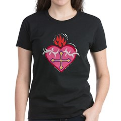 Flaming Heart Women's Dark T-Shirt