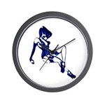 Rockabilly Pin-up Girl in Blue Wall Clock