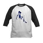 Rockabilly Pin-up Girl in Blue Kids Baseball Jerse