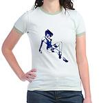 Rockabilly Pin-up Girl in Blue Jr. Ringer T-Shirt