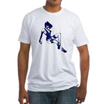 Rockabilly Pin-up Girl in Blue Fitted T-Shirt