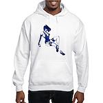 Rockabilly Pin-up Girl in Blue Hooded Sweatshirt