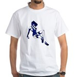 Rockabilly Pin-up Girl in Blue White T-Shirt