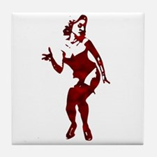 Pin-up Silhouette Nude Rockabilly Tile Coaster