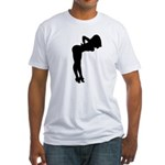 Nude Pin-up Girl Silhouette Fitted T-Shirt