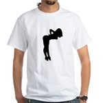Nude Pin-up Girl Silhouette White T-Shirt