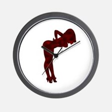 Nude Pin-up Girl Rockabilly (red 3) Wall Clock