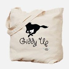 Giddy Up Black Horse Image Tote Bag