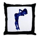 Rockabilly Nude Pin-up Girl (blue 3) Throw Pillow