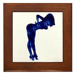 Rockabilly Nude Pin-up Girl (blue 3) Framed Tile