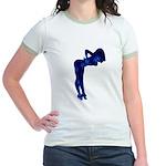 Rockabilly Nude Pin-up Girl (blue 3) Jr. Ringer T-