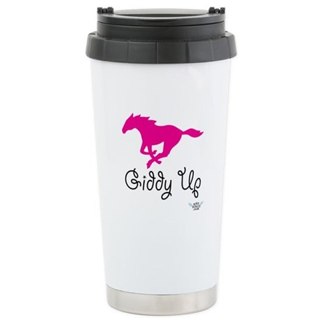 Giddy Up Pink Horse Image Stainless Steel Travel M