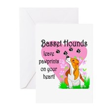 Basset Hound Pawprints Greeting Cards (Package of
