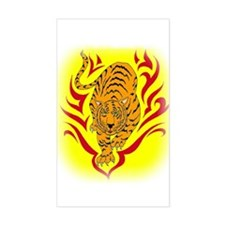 Tiger in Flames Rectangle Decal