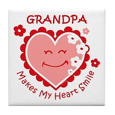 Heart Smile Grandpa Tile Coaster