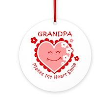 Heart Smile Grandpa Ornament (Round)